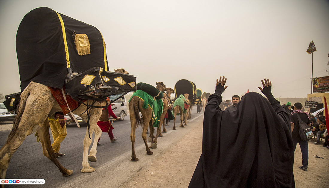 Arbaeen Pilgrimage enactment processions on foot to the holy city of Kerbela