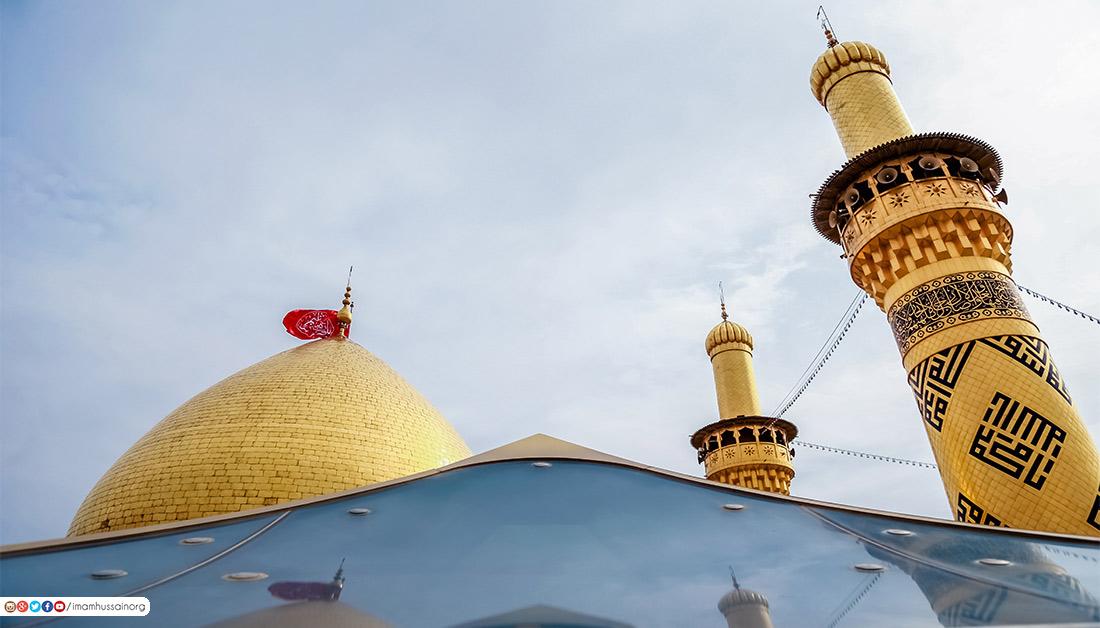 في كربلاء: قبة ذهبية تتوسط حروف الدعاء نحو ابواب السماء