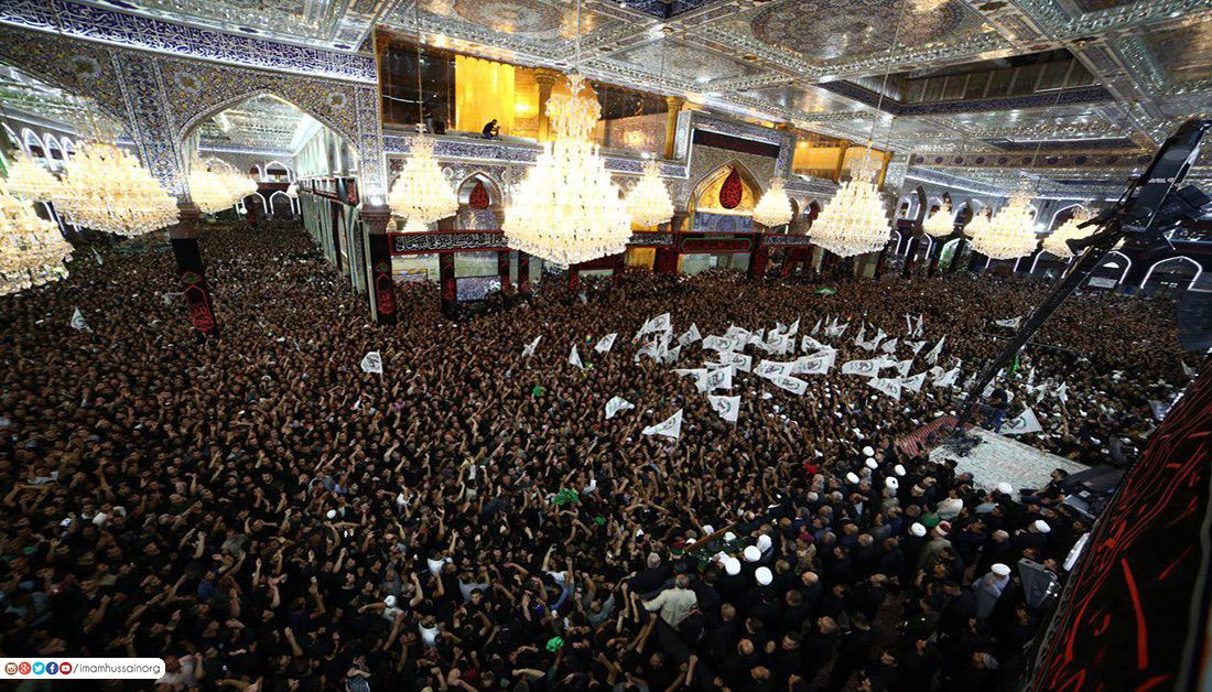 شاهد اجواء مرقد الامام الحسين عليه السلام قبل وبعد استبدال راية القبة الشريفة والاعلان عن بدء شهر محرم