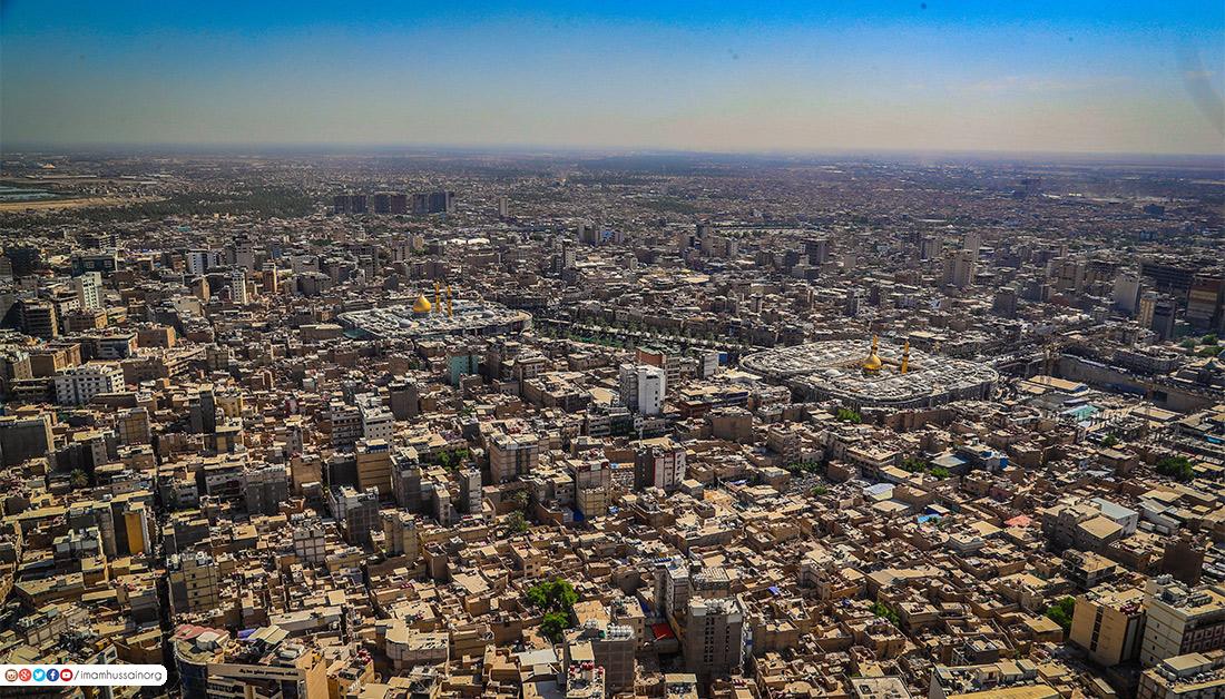 حصريا: صور فنية من الجو توثق الحشود المليونية الزاحفة باتجاه مرقدي الامام الحسين واخيه العباس (ع)