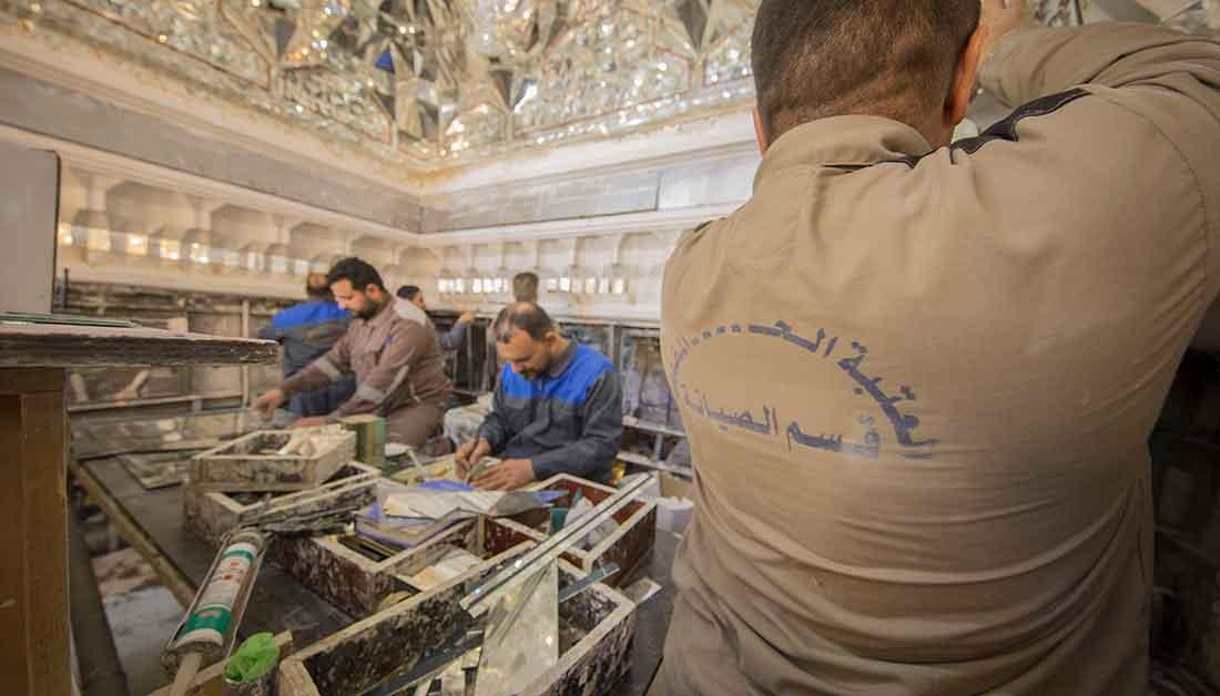 قبل ازاحة الستار... تعرف على الاعمال الجارية داخل حرم مرقد الامام الحسين (ع)